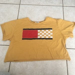 gold checkered crop top